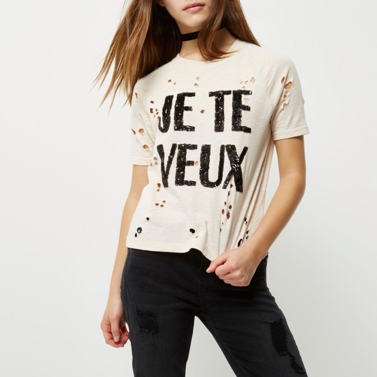 Petite cream sequin print distressed T-shirt