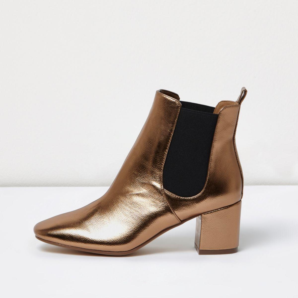 Bronze block heel Chelsea boots