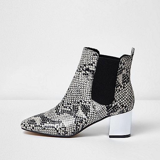 Snake print metallic heel Chelsea boots