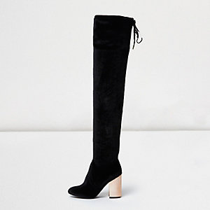 Black velvet over-the-knee metallic heel boot
