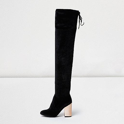 Black velvet over-the-knee metallic heel boot