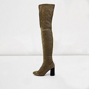 Gold glitter over-the-knee stretch boots
