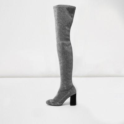 Zilverkleurige over-de-knie-laarzen met stretch en glitters thumbnail