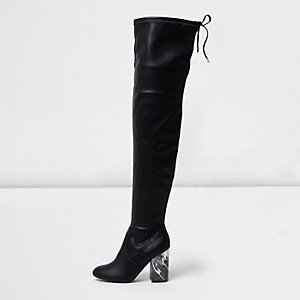 Black over-the-knee marble heel boots