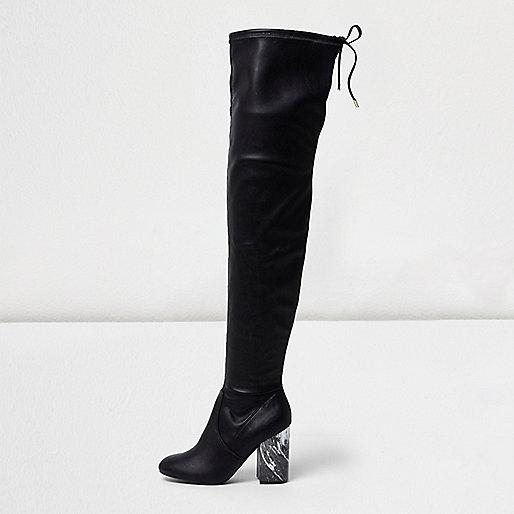 Black over-the-knee marble heel boots