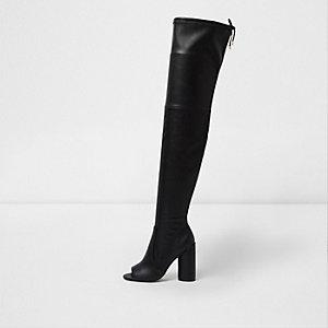 Zwarte over-de-knie peeptoe-laarzen