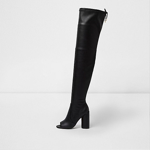 Black over-the-knee peep toe boots