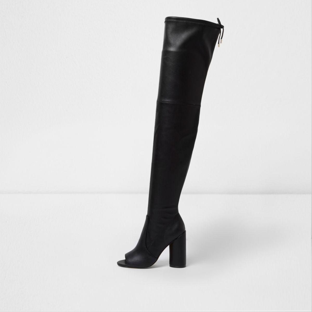 Black over-the-knee peep toe boots