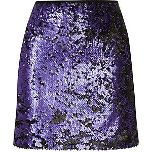 Blue sequin mini skirt