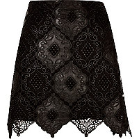 Black lace scalloped hem mini skirt