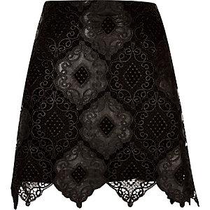 Black lace scalloped hem mini skirt
