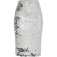 White sequin pencil skirt