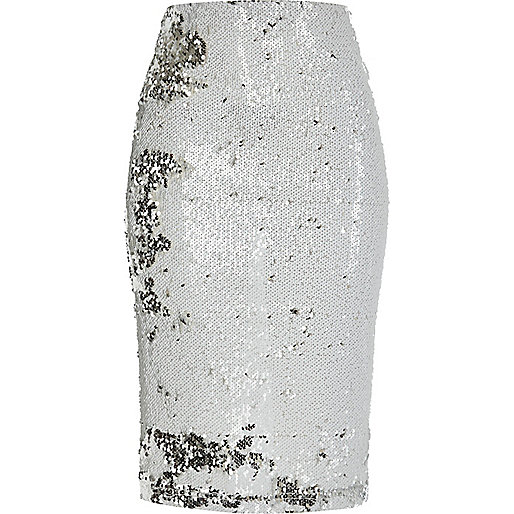 White sequin pencil skirt - skirts - sale - women