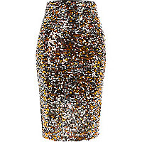 Bronze sequin pencil skirt