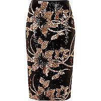 Black floral sequin pencil skirt