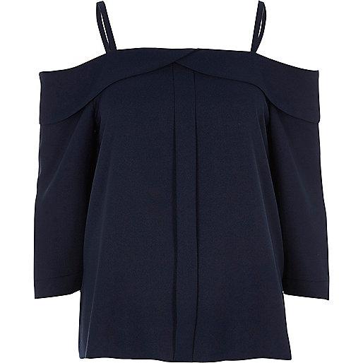 Navy placket cold shoulder top