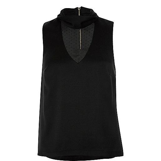 Black satin mesh panel choker top