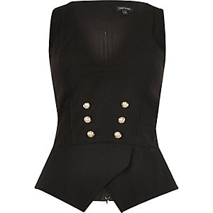Black military button cut-out waistcoat