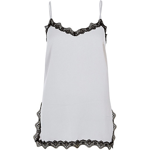 Grey satin lace trim cami top