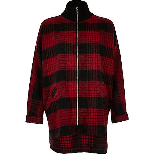 Veste-chemise zippée rouge à carreaux et col montant