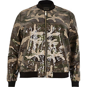 Plus khaki sequin camo bomber jacket