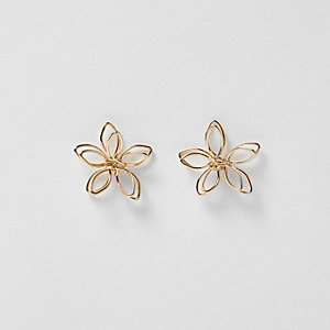 Gold tone flower wire stud earrings