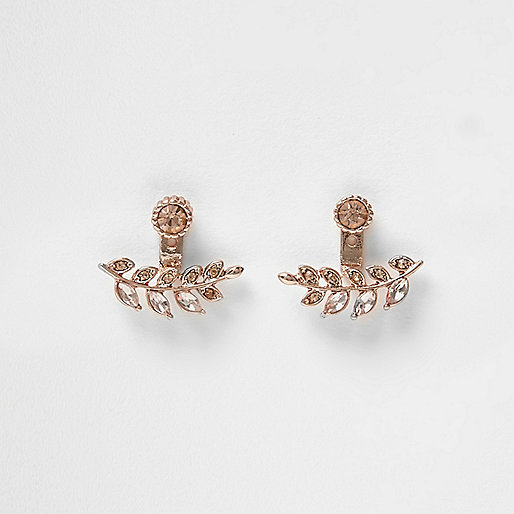 Boucles d'oreilles or rose motif feuilles