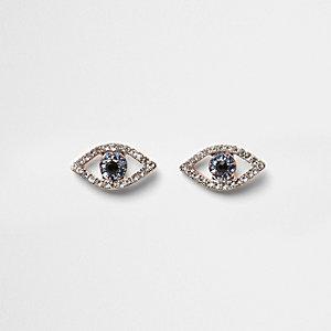 Gold tone embellished evil eye earrings