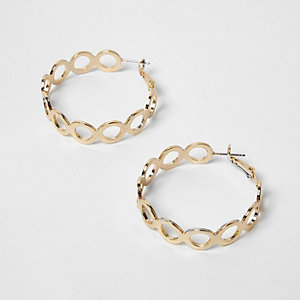 Gold tone circle link hoop earrings
