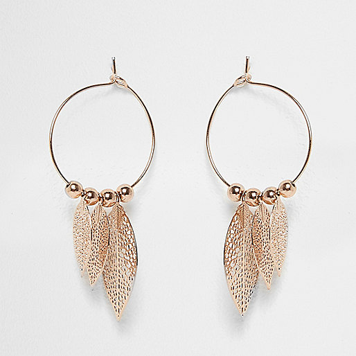Rose gold tone hoop feather earrings
