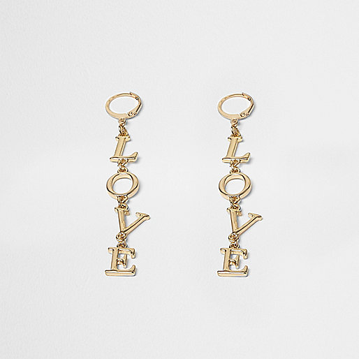 Gold tone love drop earrings