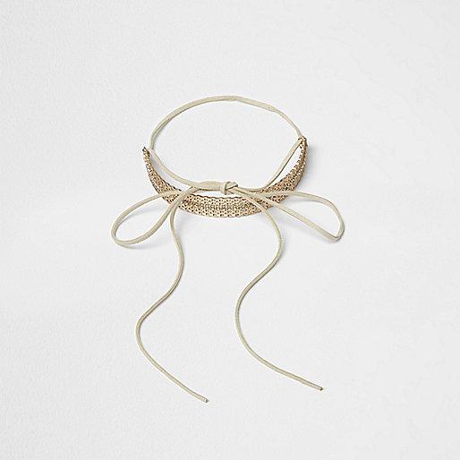 Gold tone filigree bow choker