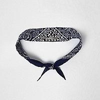Navy embellished neck scarf
