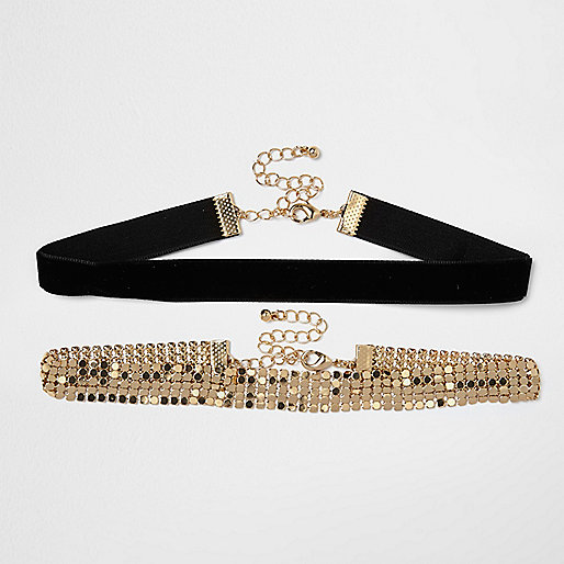 Black and gold tone chainmail choker pack