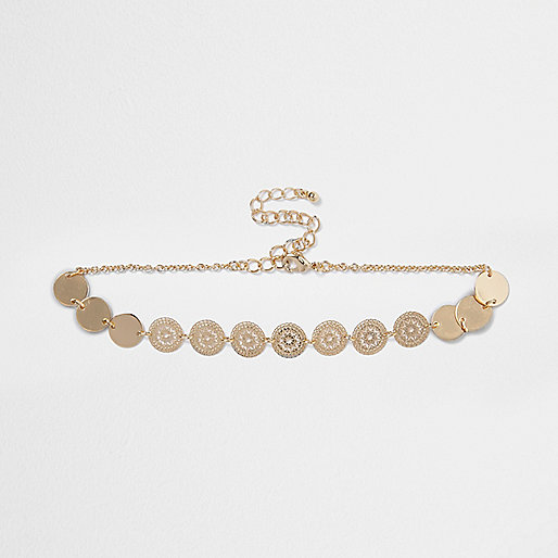 Gold tone circular patterned choker