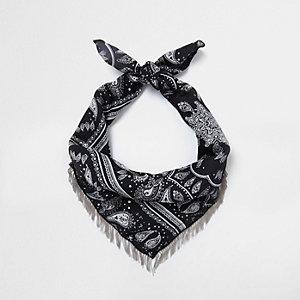 Black paisley print neck scarf