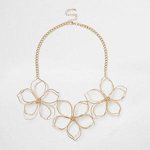 Gold tone flower bib neklace