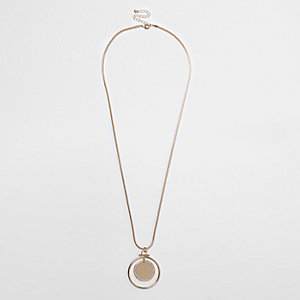 Gold long circle necklace