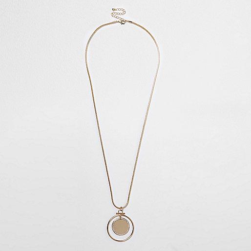Gold long circle necklace