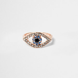 Rose gold tone rhinestone evil eye ring