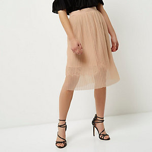 Petite nude pleated lace trim midi skirt