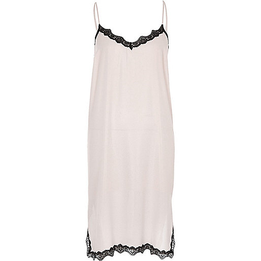 Pink metallic lace trim midi slip dress