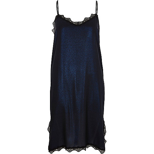 Blue metallic lace trim midi slip dress