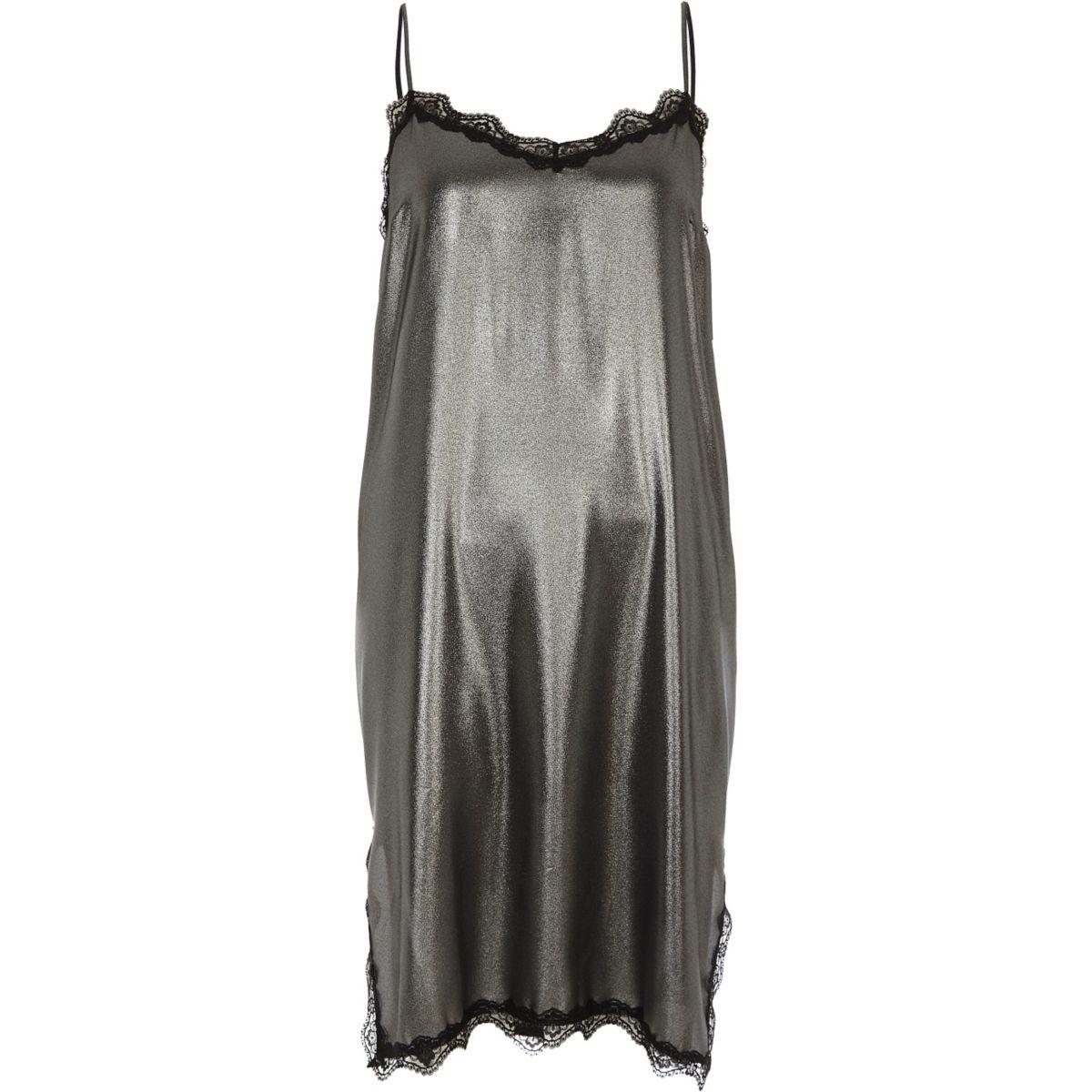 Silver metallic lace trim midi slip dress