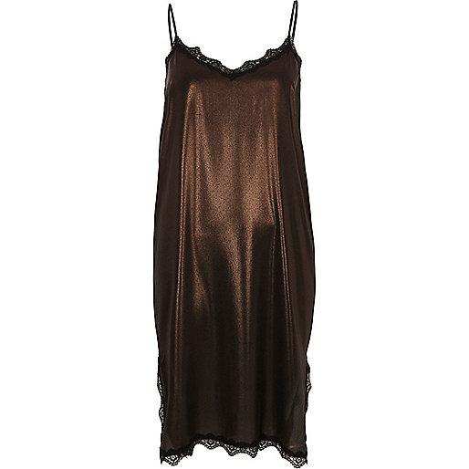 Bronze metallic lace trim midi slip dress