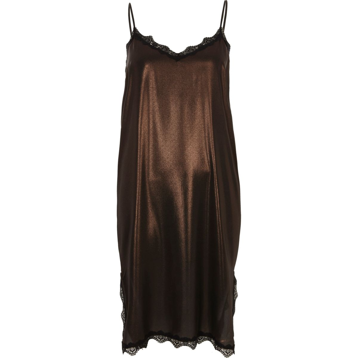 Bronze metallic lace trim midi slip dress
