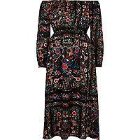 Black floral print bardot maxi dress