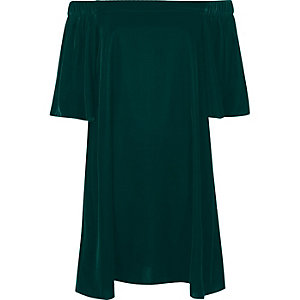 Dark green velvet bardot swing dress