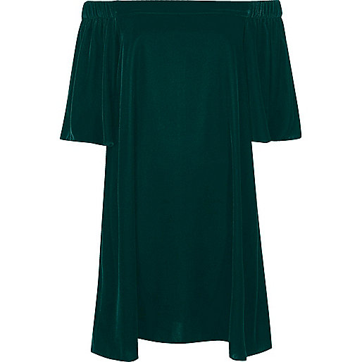 Dark green velvet bardot swing dress