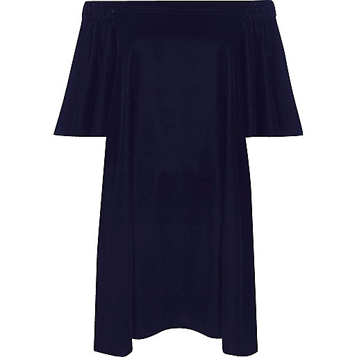 Navy velvet bardot swing dress